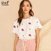 Dotfashion White Embroidery Floral Ruffle Cuff Tee Women Korean Aesthetic Clothes 2019 Summer Elegant T Shirt Ladies Casual Tops