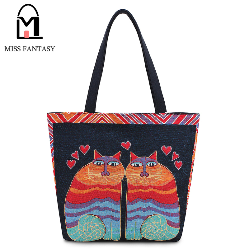 Women Bag Embroidery Lovely Cats Handbags for Female Autumn Shoulder Bags for Girls Designers National Style Beach Bag Totes temptations mixups surfers delight flavor treats for cats pouch mega bag
