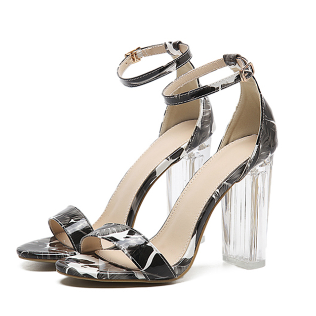 f33a43ab1 Hot Sale Women Classics Sexy transparent sandals peep toe high heels shoes  ladies Crystal thick with heels print flower shoes