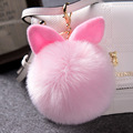 12 Colors Fur Rabbit Ear Keychain Real fur ball Cartoon keychain Bag Car Key Purse Charm POM Fluffy Keyring 13cm XL0420 A1