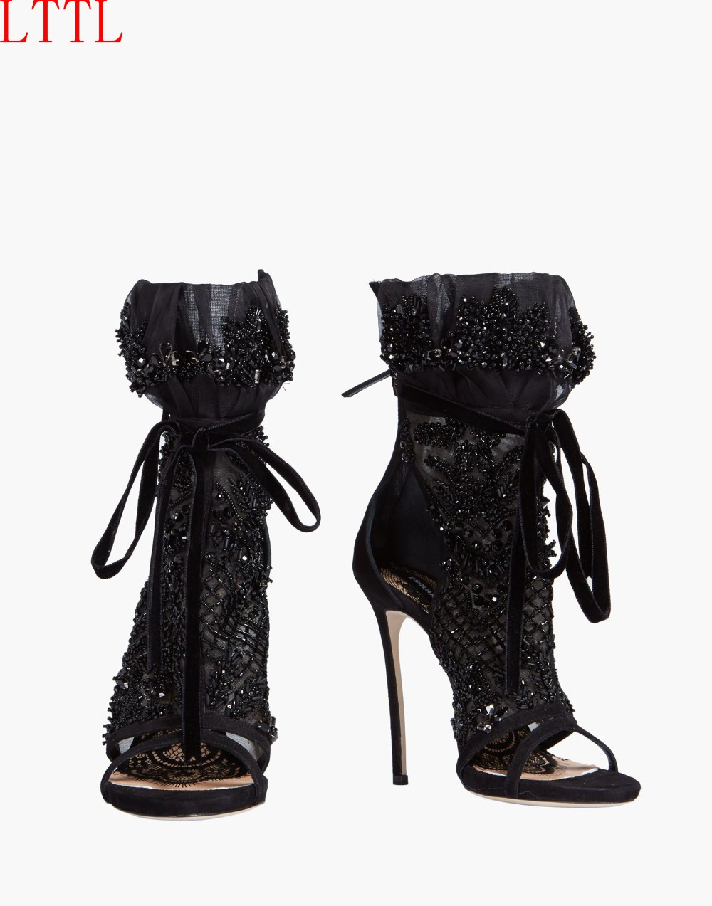 Summer Leather Black Mesh Rhinestone Ankle Boots Extreme Thin High Heel Open Toe Lace Up Glitter Sandals Shoes Woman 2019