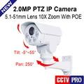 Velocidad IP PTZ Cámara de 2MP HD 1080 P Zoom Óptico de 10X Auto Iris 5.1-51mm Lente ONVIF Bala Impermeable Cámara IP Pan Tilt de Rotación