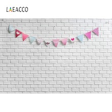 Laeacco Gray Brick Wall Flags Birthday Party Child Portrait Photographic Background Photography Backdrops For Photo Studio