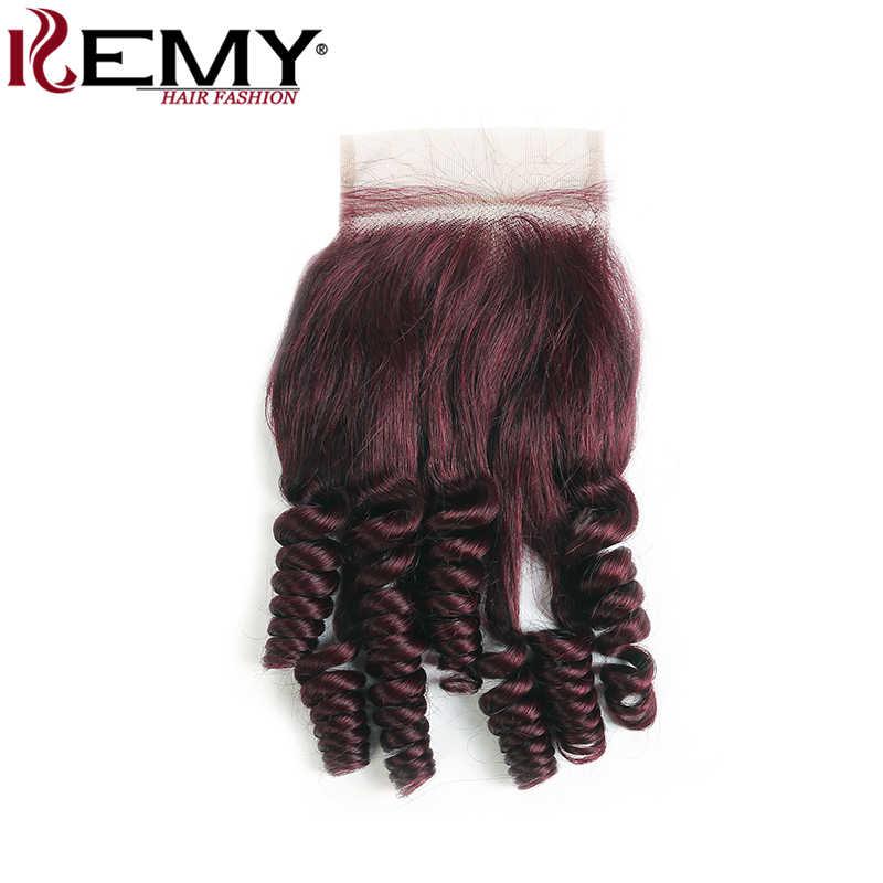 99J/Merah Anggur Brazilian Rambut Manusia Bundel dengan Penutupan 4X4 Funmi Keriting 3/4 Bundel dengan Penutup Non- remy Rambut Tenun Kemy Rambut