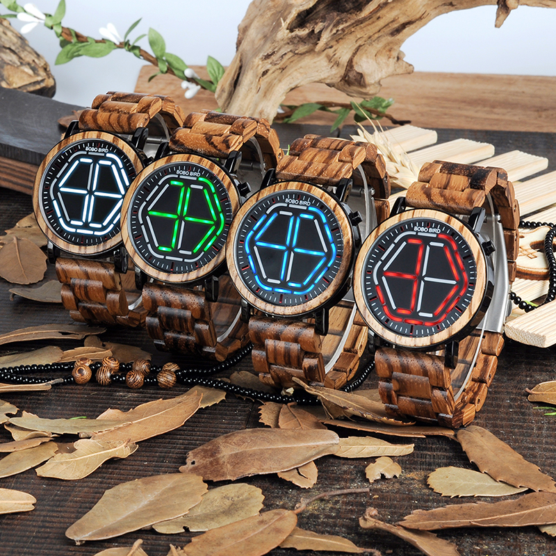 лучшая цена BOBO BIRD Men Unique Bamboo Wooden quartz Watches LED Dial WristWatch With Wood Link saat erkek relojes In wood Gift Box