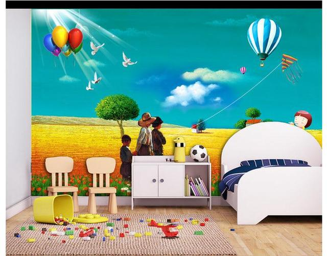 Custom Mural Non Woven Wallpaper Cartoon Painting Children Room Background Wall Paintings Kids Decoration