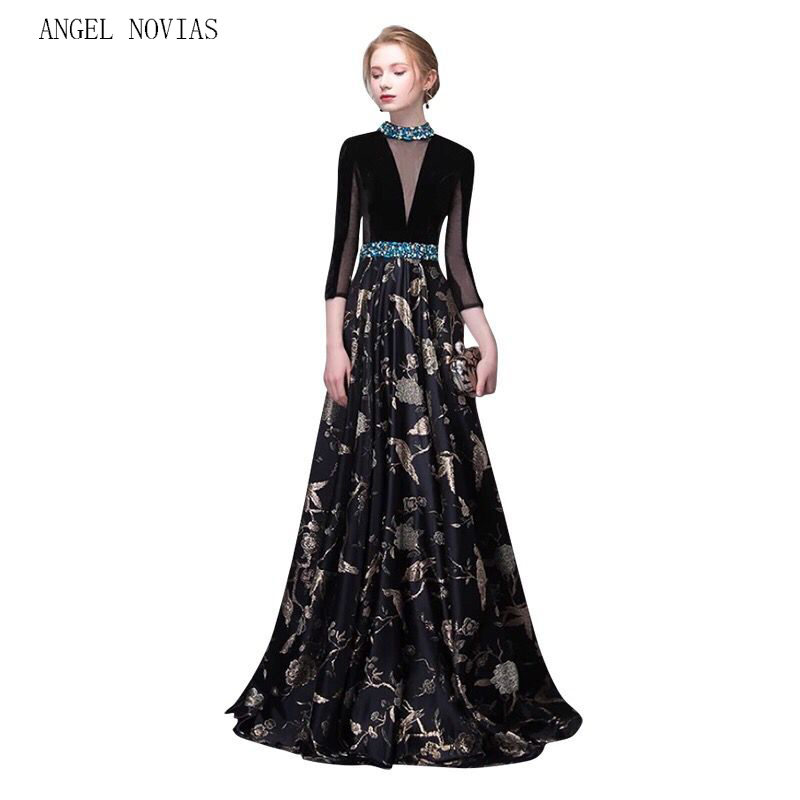 New Arrival Black Long High Neck Evening Dress 2018 Crystal Women ...