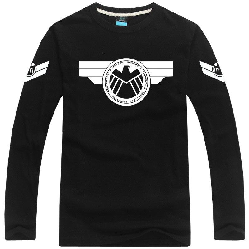 [XHTWCY] Free shipping Captain America tshirt long sleeve t-shirt Agents of S.H.I.E.L.D. t shirt Marvel  tee t shirt