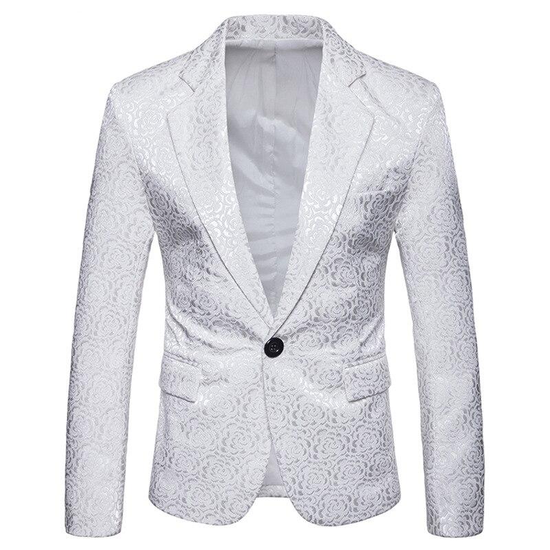 White Rose Print Velvet Blazer Jacket Men 2018 Luxury