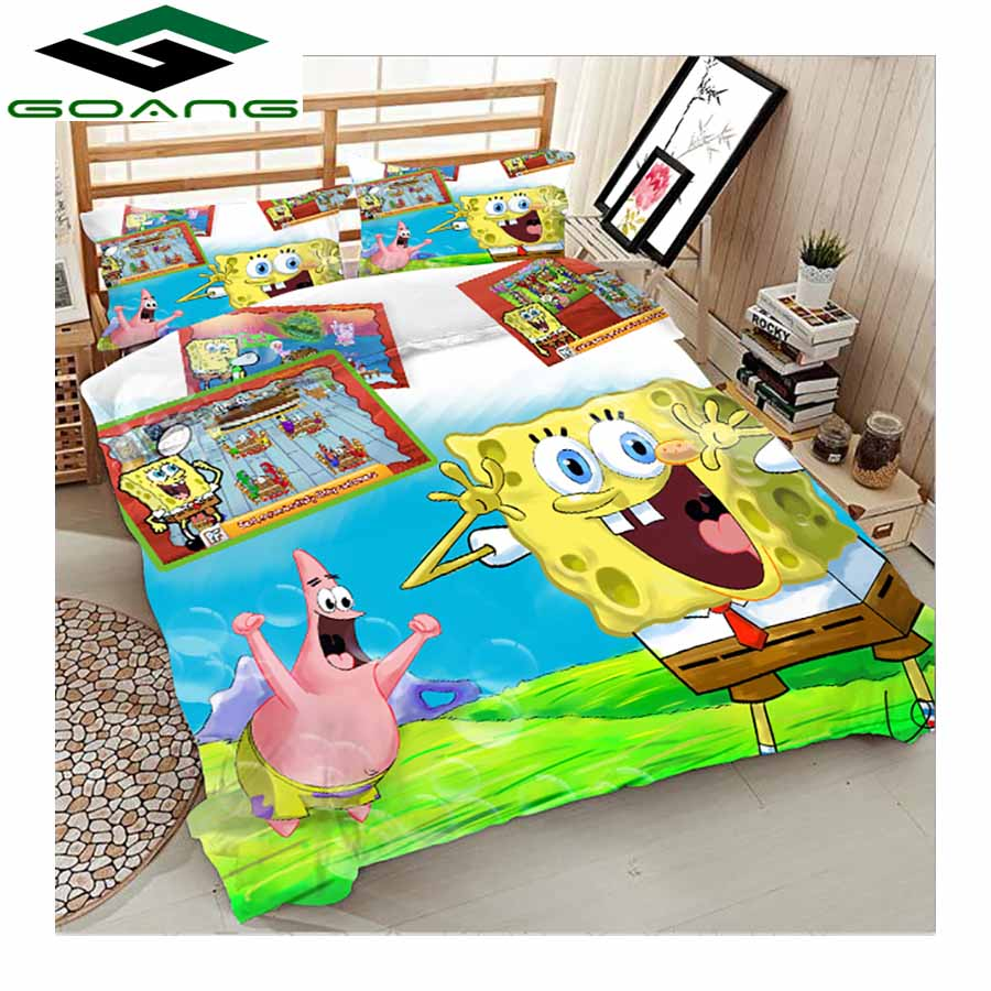 GOANG Bedding Set Bed Sheet Duvet Cover Pillow Case 3d Reactive Printing Cartoon Minions 3pcs Kids Bedding Luxury Home Textiles