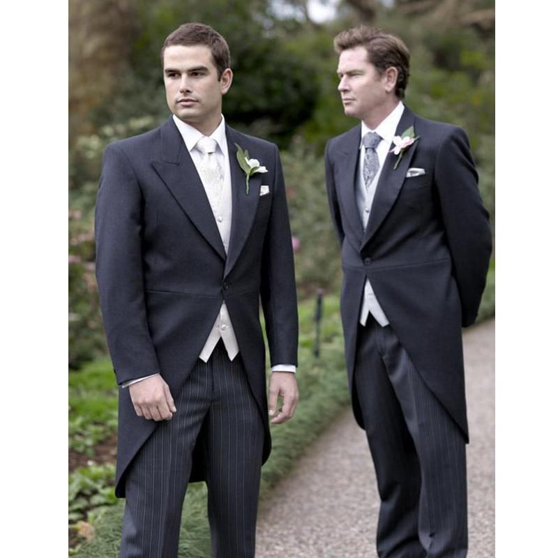 Custom Wedding Set Mens feather lapel 3 piece set Grooms dress and mens ball gown (jacket + pants + vest)