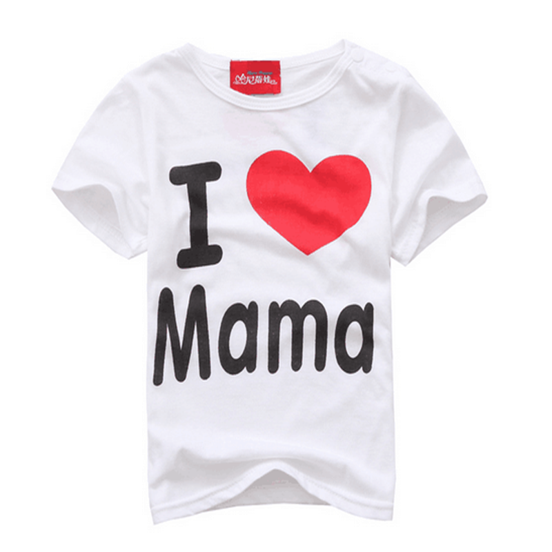 Fashion Design Summer Thin Short Sleeve Simple Letter Love Mom and Dad Baby Cotton Short Sleeved T-shirt