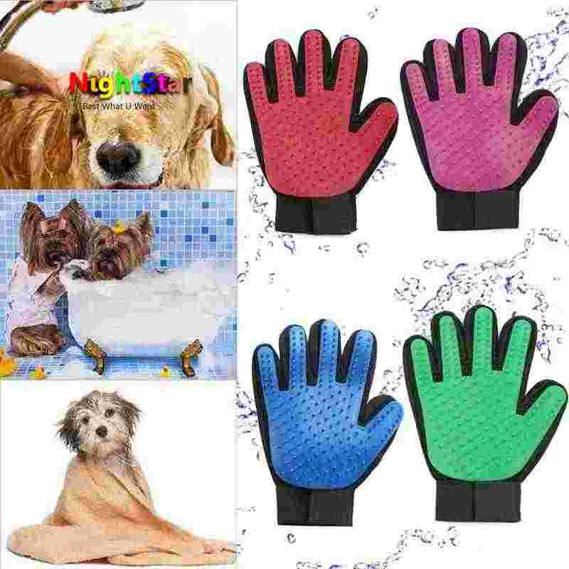 Pet Hair Glove Comb Dog Cat Grooming Cleaning Glove Deshedding left Right Hand Hair Removal Brush Promote / Color R