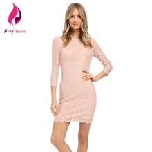 Berydress Plus Size Lace Dress with Sleeves Stretchy Wedding Party Vestidos De Festa Lavender Summer Pink Women Dresses 2017 New