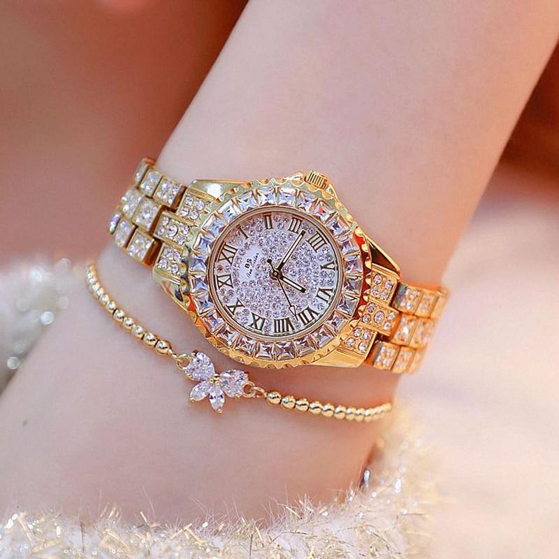 BS 2019 Luxury Brand Lady Crystal Watch Women Fashion Quartz Watches Female Stainless Steel Dress Gold Bracelet Relogio Feminino