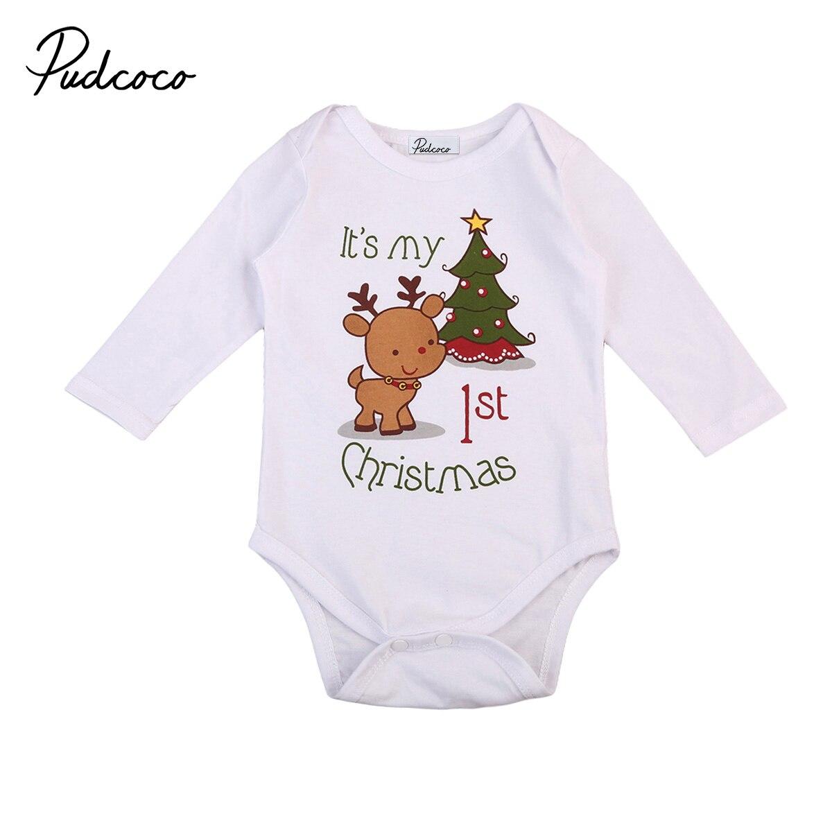 c6ebf2ec9 Newborn Baby Boys Girl Christmas Rompers Long Sleeve Deer Romper ...