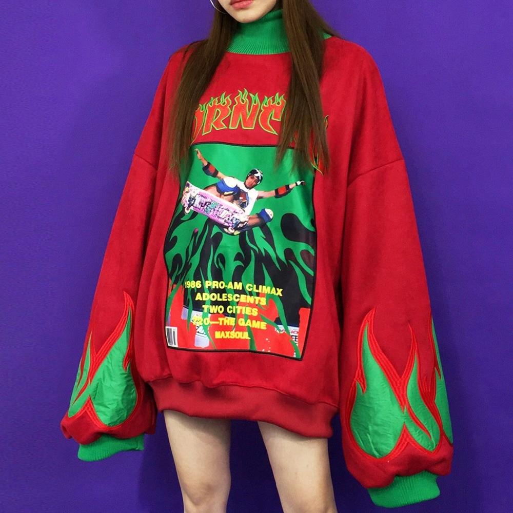 Femmes hip pop hoodies col roulé aile de chauve souris lâche surdimensionné skateboard sweatshirts copain flamme lettre mince polaire streetwear-in Sweats à capuche et sweat-shirts from Mode Femme et Accessoires on AliExpress - 11.11_Double 11_Singles' Day 1