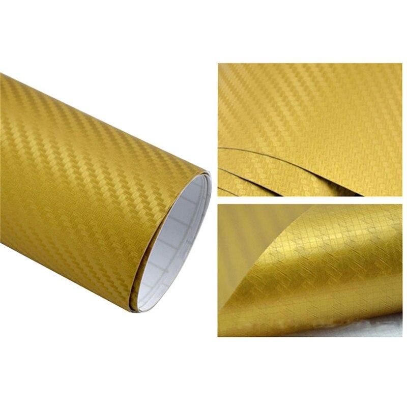 127cmx10/20 см 3D виниловая пленка из углеродного волокна для автомобиля, рулонная пленка, наклейка на машину, мотоцикл, наклейки для автомобиля, аксессуары для интерьера - Color Name: Gold
