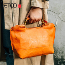 AETOO Retro literary handbag leather bag single shoulder oblique cross Baotou layer cowhide female bag