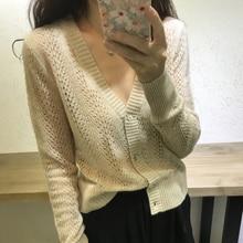 2018 nieuwe vrouwelijke kasjmier vest jas losse korte holle zonnebrandcrème shirt trui gebreide wol winter airconditioning