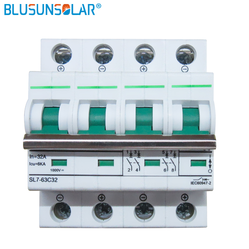 10 PCS/Lot 4 P 6A/10A/16A/20A/25A/32A/50A/63A 6KA DC1200V MCB commutateur solaire dc contrôleur dc disjoncteur