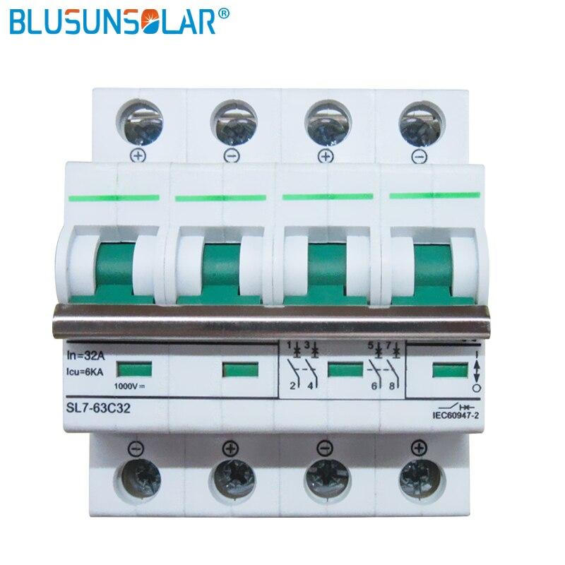 10PCS/Lot 4P 6A/10A/16A/20A/25A/32A/50A/63A 6KA DC1200V MCB solar dc switch dc controller DC Circuit Breaker
