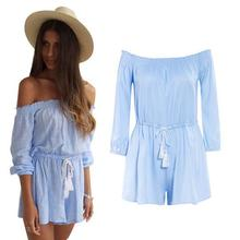 Women Sky Blue Playsuits Sleeveless Strapless Slash neck Belt Loose Solid Summer Casual Sexy Clothes