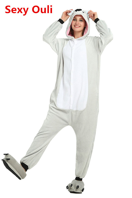 da60217c7f9a Cute Koala Onesie Flannel One-Piece Pajamas Koalas Kigurumi Animal Kangaroo  Sleepwear Adult Women For Halloween Cosplay