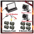 "4.3"" Color TFT LCD Folding Car Monitors+ 4 LED CCD Rear & Front  Night Vision Car Camera For Parking sensors 8 system,By HK"