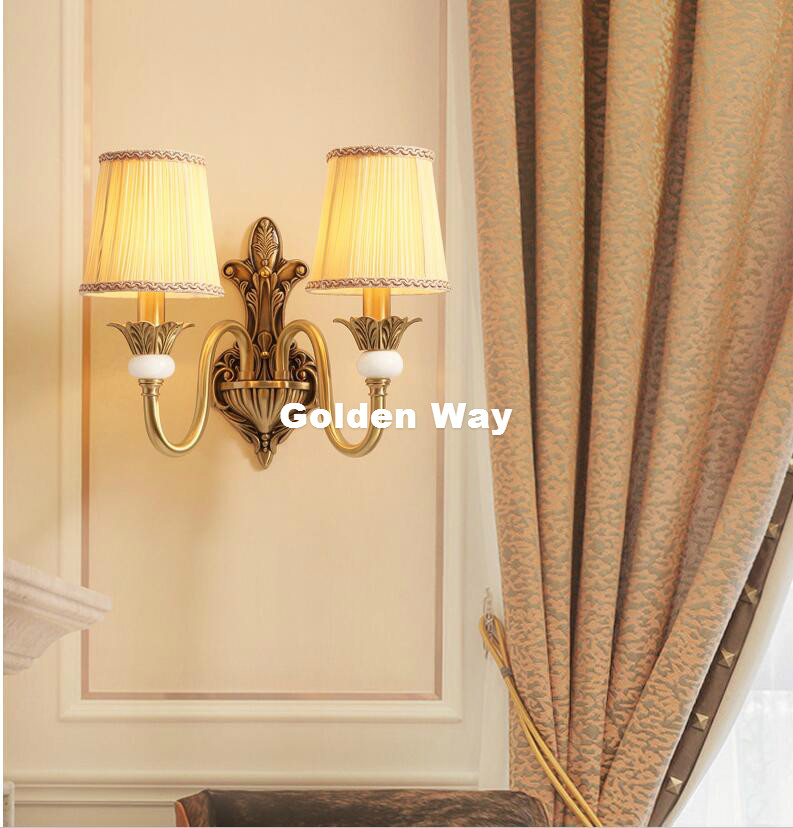 Free Shipping Retro Bronze Golden Wall Lamp LED Copper Wall Sconce Fabric Shade Single/Double Head Modern Brass Wall Lamp Lustre free shipping nordic style copper wall lamp single double head hallway light bedroom brass glass wall sconce ac 100% guaranteed