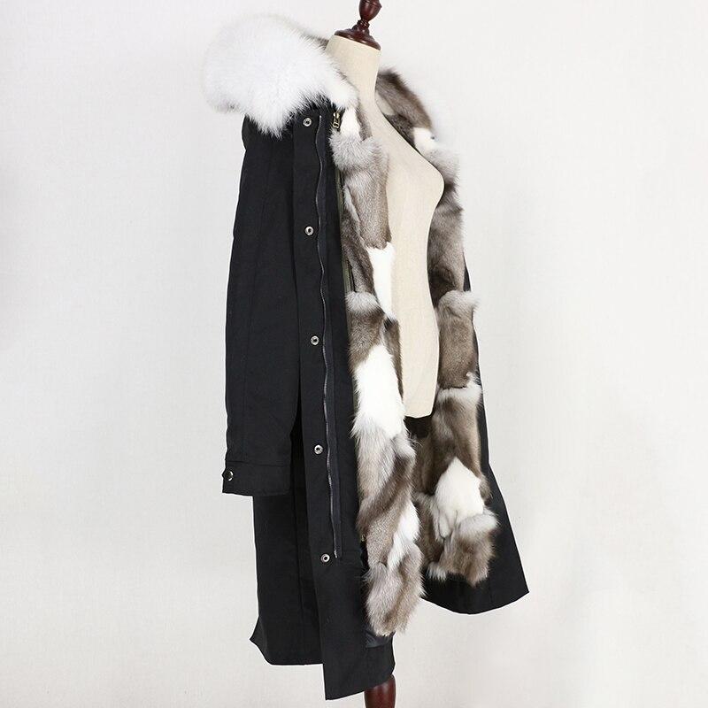 Veste De X D'hiver Chaud Réel Streetwear Black Raton Naturel Imperméable Manteau Oftbuy Fourrure long Femmes Épais Parka long Col Doublure x Full Laveur Renard En White n8wzdnIqY