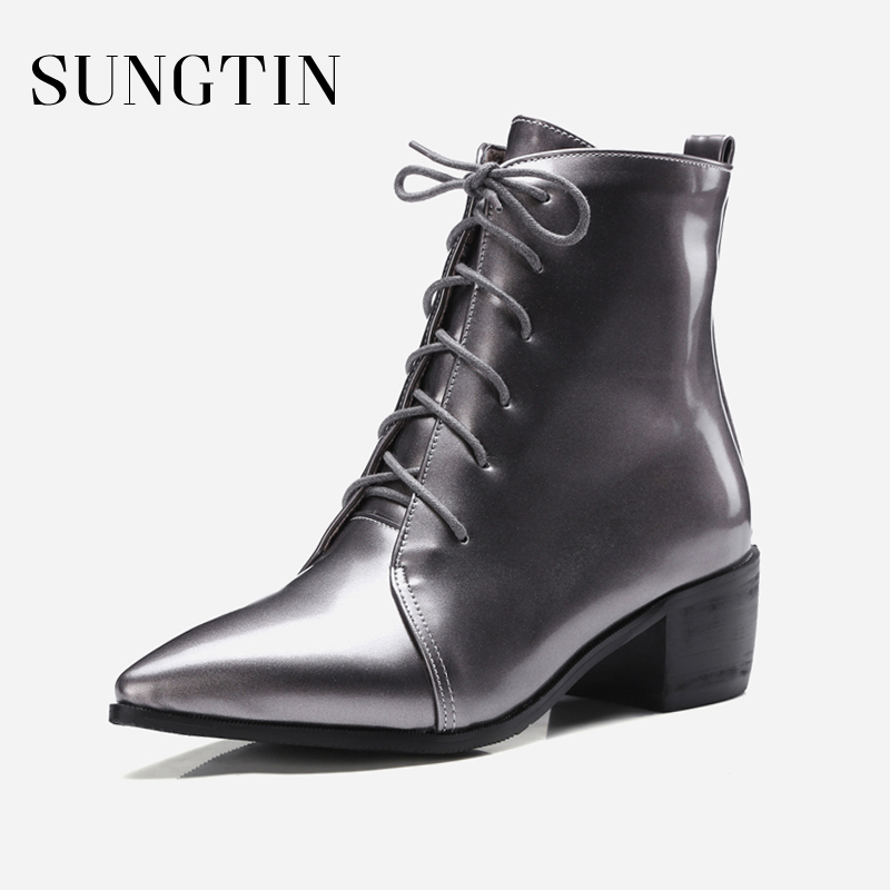 Sungtin Pointed Toe Riding Boots Winter Genuine Leather Women Ankle Boots Lace-up Short Boots Ladies Casual Booties Plus Size 47 цена 2017