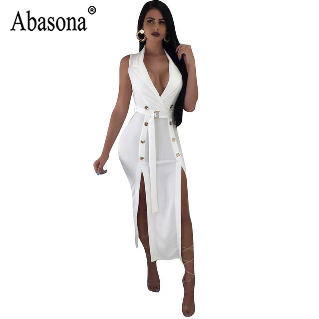 49931b400b Abasona Sexy Club Asymmetrical Split Women Dress Woman White Sleeveless V  Neck Dress Women Sashes Mid Calf Dresses Autumn Robe