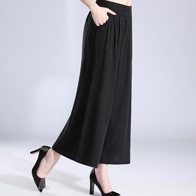 Зеленые шелковые широкие брюки fem me женские пляжные богемные офисные повседневные брюки Полная длина 2019 Лето плюс размер свободные - 3