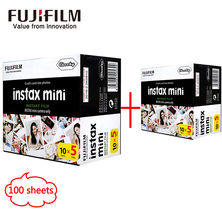 Fujifilm Fuji instax mini 8 film 100 sheets white Edge 3 Inch wide film for Instant Camera mini 8 7s 25 50s 90 SP1 Photo Paper 5 packs fuji fujifilm instax mini instant film monochrome photo paper for mini 8 7s 7 50s 50i 90 25 dw share sp 1 cameras