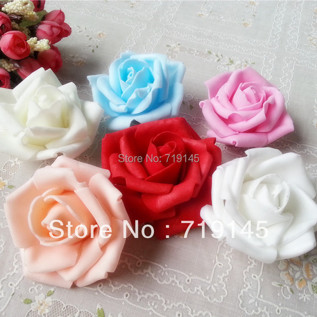 100pcs 7CM PE Artificial Rose Flower Heads DIY Wedding Bouquet ...