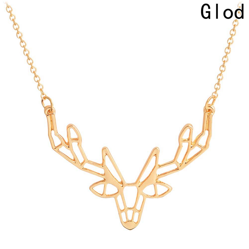 Unique Origami Deer Charm Necklace Women Boho Antler Horn Animal Chain Necklaces Christmas Jewelry Everyday Gifts Ожерелье