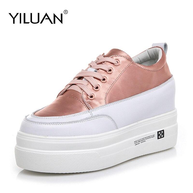 Petites chaussures blanches femme nouvelle version de l'augmentation petite taille chaussures pour femmes 32-40 automne cuir décontracté étudiant plate-forme chaussures
