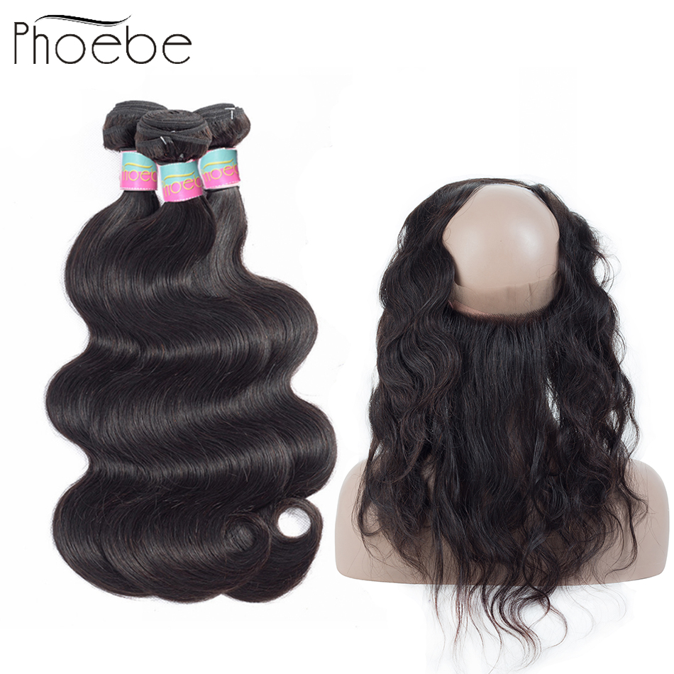 Phoebe Hair Brazilian Body Weave 3 Bundles With 360 Lace Closure Non Remy Natural Color Machine