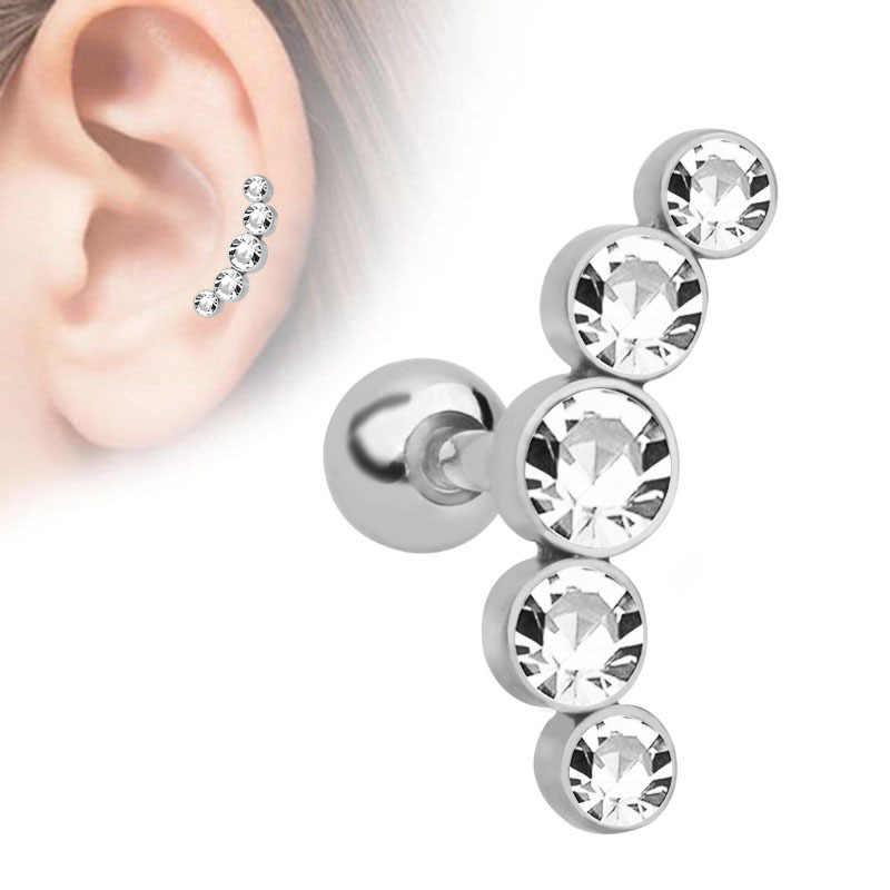 1 Pc 宝石耳珠リングステンレス鋼バー耳ピアス軟骨ヘリックスピアス女性男性ボディジュエリー