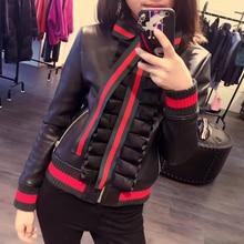 Женская куртка из натуральной кожи, женская короткая черная куртка, Осень-зима, длинный рукав, молния, бант, натуральная куртка из овечьей кожи, пальто