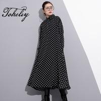 Toheliy 2018 Women Fashion Trend Spring Winter Personal Lapel Long Sleeved Dots Printing Long Sleeved Shirt