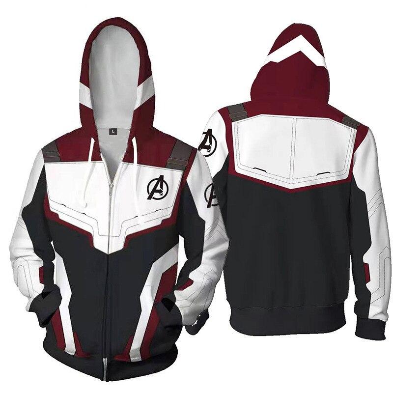 2019 New 3D Marvel Avengers 4 Endgame Quantum Realm Cosplay Costume Hoodies Men Hooded Avengers Sweatshirts Zip Coat Jacket