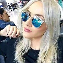 Clásico Diseñador de la Marca Del Ojo de Gato gafas de Sol Redondas de La Vendimia gafas lentes de sol mujer UV400 Marco de Metal Para Las Señoras gafas de Sol oculos