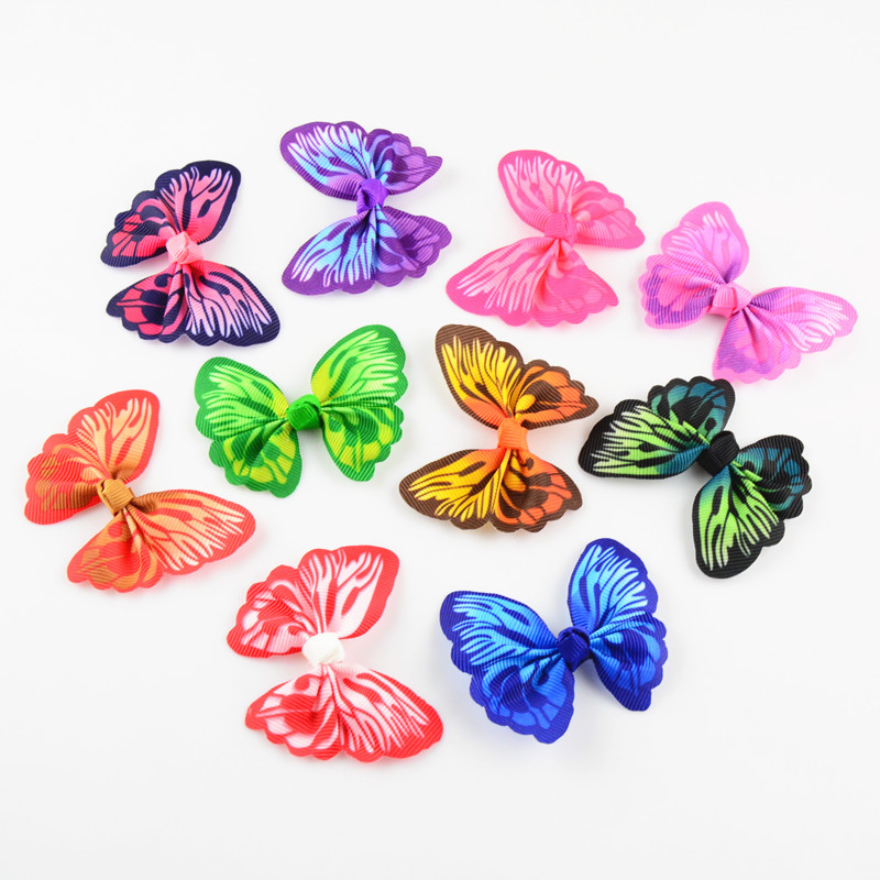 100pcs/lot 2.4 Inch Printed Butterfly Ribbon Hair Bow Without Clips DIY girls Hair Accessories 10 Color U Pick HDJ103 2 pcs lot 4 high quality pearl hair bow for girls sweet cute hair clips rhinestone ribbon diy fashion headwear