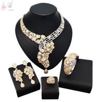 YULAILI Nigerian Flower Cubic Zirconia Gold Color Brass Material Wedding Bridal Jewelry Set Gifts for Bridesmaids