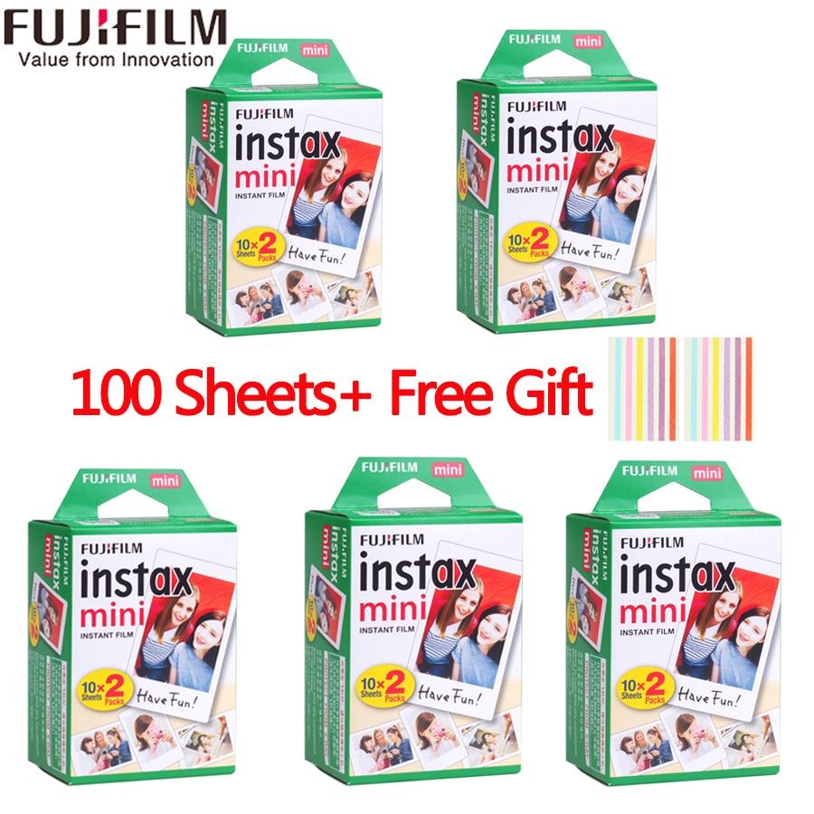 Fujifilm instax mini film 60 80 100 feuilles bord blanc 3 pouces de large film pour appareil Photo instantané mini 8 9 7 s 25 50 s 90 papier Photo + cadeau - 3