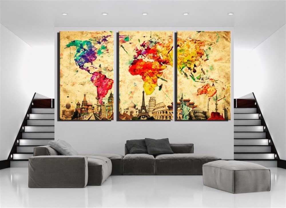 Watercolor world map canvas painting hd printed group home decor watercolor world map canvas painting hd printed group home decor wall pictures for living room 3 pcs modular pictures in painting calligraphy from home gumiabroncs Gallery