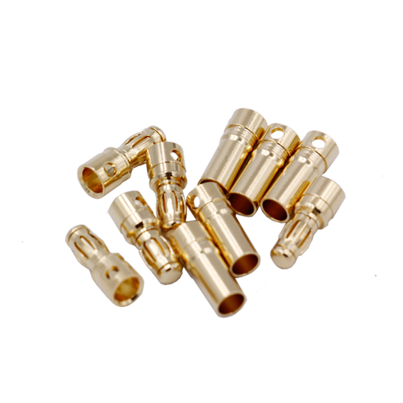 10pair 3.5mm Gold Bullet Connector Plug rc lipo battery plug 35%Off 10pair 3 5mm gold bullet banana connector plug with protective sleeve for esc battery motor
