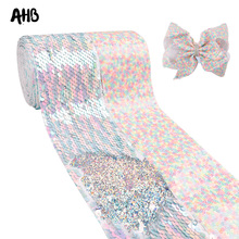 AHB 75mm Laser Sequin Ribbon Rainbow Reversible DIY Hair Accessories Wedding Party Holiday Decor Wholesale